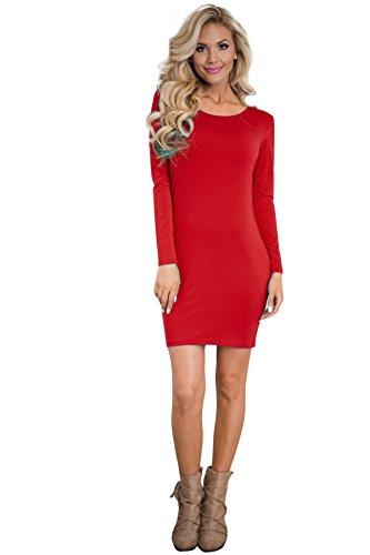 ... Europäische Und Amerikanische Frauen Hohe Qualität Feste Farbe Baumwolle  Mit Langen Ärmeln Kleid Sonnenschutz Red ...