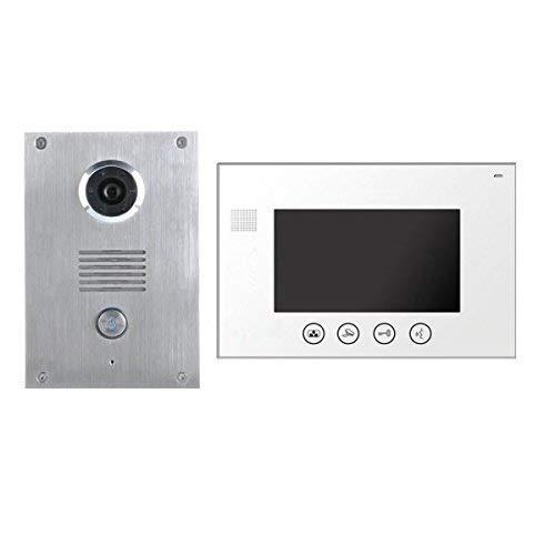 4 Draht Video Türsprechanlage Gegensprechanlage 7'' Monitor Klingel Farb Kamera (weiss 1 Monitor) 7-farb-video