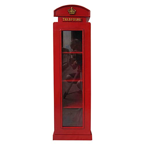 """Retro Vintage Schrank mit Glass \""""London Telefonzelle\"""" - rot"""