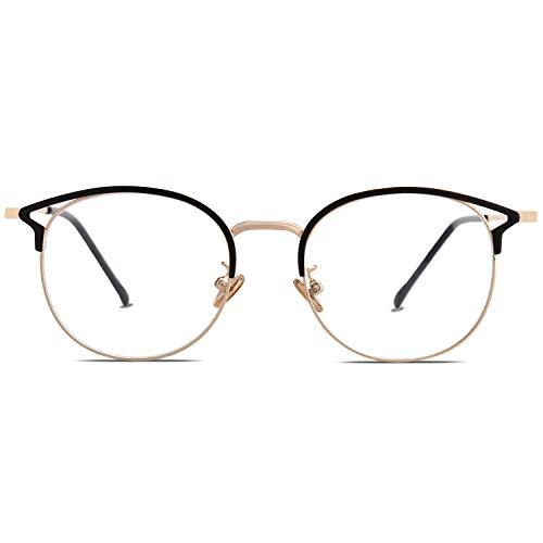 Sojos montatura occhiali da vista donna vintage occhiali per computer anti luce blu cateye rotondi anti-affaticamento antiriflesso sj5035 oasis con nero telaio/bordo oro
