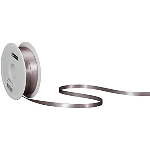 Spyk Bänder 2082.0622.0000-070 Nastro Doppio Raso per Regalo, 6 mm, 50 m, Argento