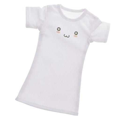 MagiDeal T-shirt Robe Longue Manches Courtes Pour 1/4 Luts Sd Bjd Dollfie Poupées Blanc