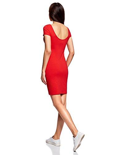 oodji Collection Damen Enges Kleid mit Tiefem Ausschnitt am Rücken Rot (4500N)