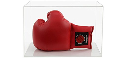 Boxing Glove Acrylic Display Case (Horizontal) with a Choice of Base Styles Flat Clear Acrylic Base