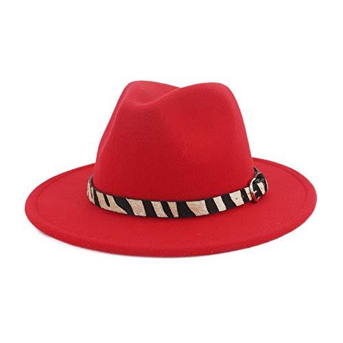 Damenhut Wide Flat Brim Wollfilz Jazzhut Zebra gestreiften Hut Woll Western Cowboy Hut Floppy Hat Hut (Farbe : Rot) Justin Womens Hut