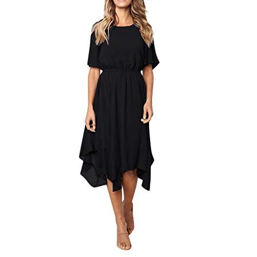 JYJM 2019 Frauen Casual Kleid Kurzarm Kleid O Hals Knielangen Kleid Abend Party Kleid oder kombiniert mit Lederjacke, Cardigan oder Blazer - Dieses Kleid rockt jeden Look. EIN Cooles Basic ()