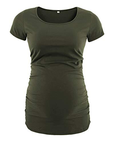Love2Mi Damen Kurzarm Umstandsshirt Mutterschaft Klassische Seite Geraffte T-Shirt Tops Mama Schwangerschaft Kleidung, Armee Grün, L