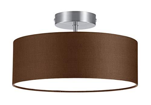 Trio - Plafón con 2 luces, E14, pantalla de algodón marrón, diámetro...
