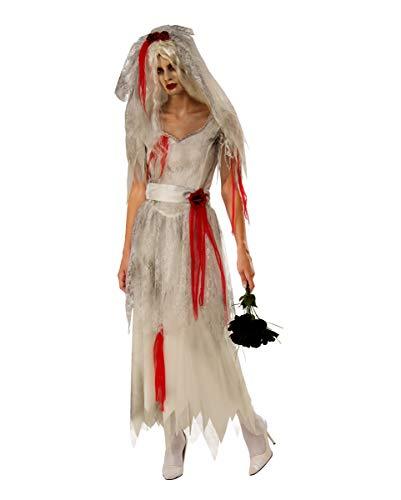Horror-Shop Geister Braut Kostüm mit Schleier für Damen als Halloween Idee L