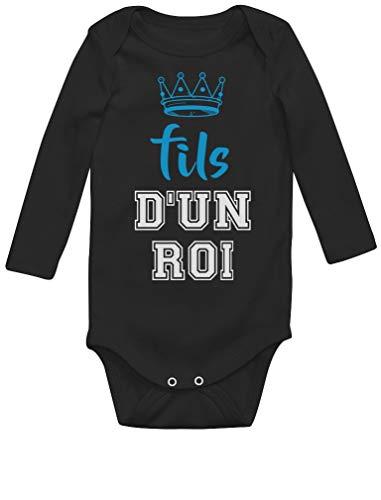 Green Turtle T-Shirts Fils d'un Roi Cadeau pour Papa Fête des Pères Body Bébé Manche Longue Newborn Noir