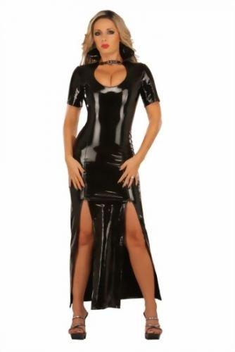 Preisvergleich Produktbild Lack-Kleid lang mit tiefem V-Ausschnitt Farbe Schwarz, Größe M