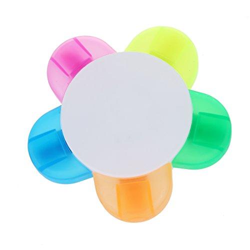 Surligneur - TOOGOO(R)Surligneur couleur 5 forme de fleurs de papeterie (rose, jaune, bleu, vert, orange)