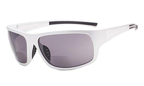 Eyekepper Bifokale Sonnenbrille +2.00 Stärke Lesen Sonnenbrillen (Glänzend Silber Rahmen/Graue Linse)