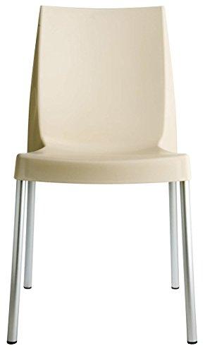 Grandsoleil Upon Boulevard Standard Chaise empilable avec Pieds en Aluminium, Polypropylène, Ivoire, 52 x 44 x 85 cm