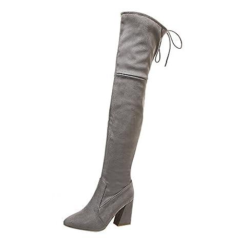 UH Damen Blockabsatz Overknee Stiefel Spitze Boots mit Schnürung und Fell Bequeme Warme Schuhe