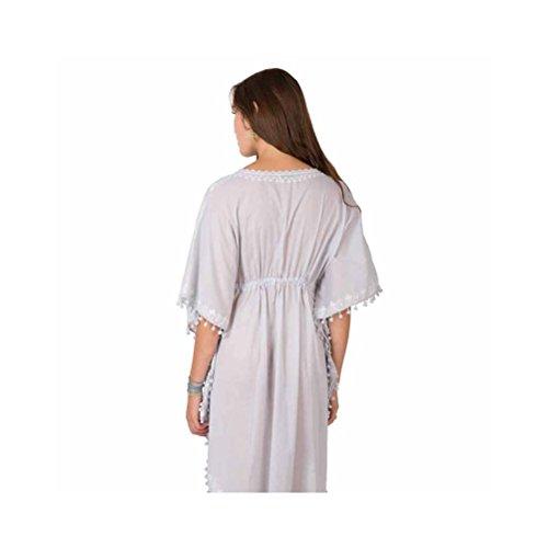 Zen*Ethic - Robe bohême type Caftan Long Elea - Voile de coton Gris