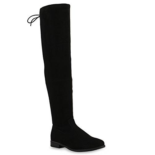Stiefelparadies Basic Damen Overknees Schleifen Stiefel Velours Samt Flach Langschaftstiefel Overknee Boots Blockabsatz Schuhe 123949 Black 36 Flandell