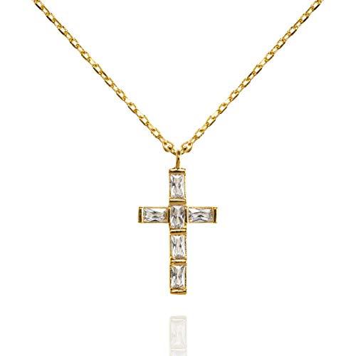 NAMANA Kreuz Halskette mit Baguette-Zirkonia, Kreuz-Anhänger mit Halskette in Silber oder Gold, mit Steinen überzogen, Kreuzkette mit Geschenkbox (Gold, Vergoldet) (Baguette-kreuz-anhänger)