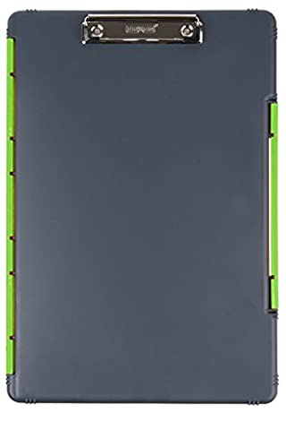 Dexas XL Legal Size Slimcase Storage Clipboard, Gray with Green Clip