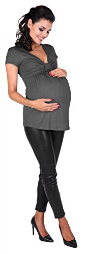 Zeta Ville - Top de grossesse col en V buste noeud taille empire - femme - 969c Graphite