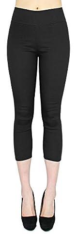 Capri Hose Damen High Waist 7/8 Skinny Pants / Slim Fit - Figurformend - mit hinteren Taschen - 7LG014 (36/S, Schwarz)