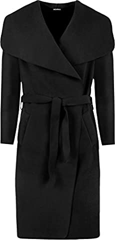 Womens Long Belt Pocket Open Coat Ladies Celebrity Waterfall Jacket