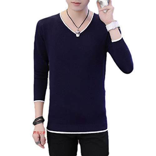 VITryst Men's Solid Color Knit Fit Casual Loose Mock Neck Long-Sleeve Sweater Navy Blue M -