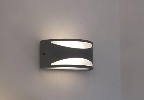 Applique mezzaluna moderna lampada da parete per esterno antracite