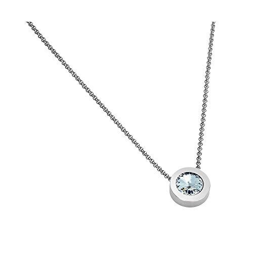 Heideman Halskette Damen Coma 16 aus Edelstahl Silber Farben matt Kette für Frauen mit Swarovski Zirkonia Weiss oder farbig mit Erbskette in verschiedenen Längen Crystal Gr. hk2128-1-1-50