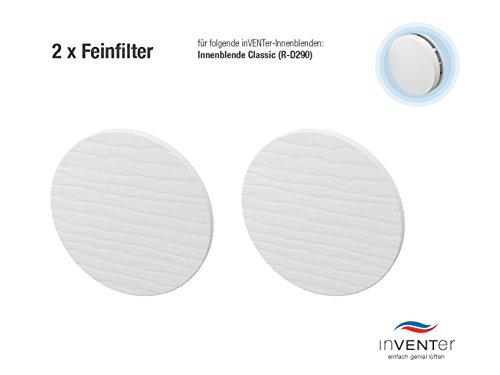 Preisvergleich Produktbild 2 x inVENTer-Feinfilter der Filterklasse F5 zum Einsetzen in Innenblende Classic (R-D290)   Feinfilter aus Watte   Filter zur Verbesserung der Luft- und Lebensqualität