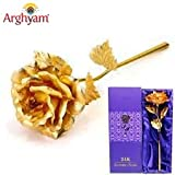 #10: PujaShoppe 24K Golden Rose 10 INCHES With Gift Box - Best Gift For Loves Ones, Valentine's Day, Mother's Day, Anniversary, Birthday