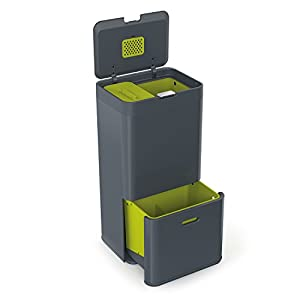 Joseph Joseph Intelligent Waste Totem Bin, 60 Litre, Graphite- Includes 4 Litre Waste Caddy