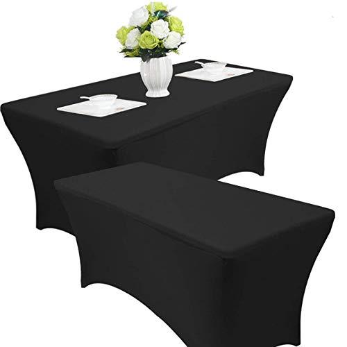 Jolitac 2 x Stretch Tischdecke Tischhusse Tischcover Hussen für Hochzeit Event 4FT Picknicktisch...
