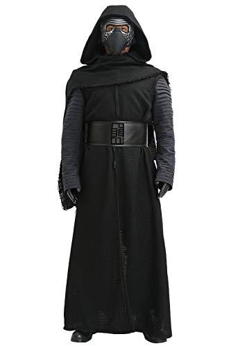 Mesky EU Kylo Ren Kostüm für Erwachsene, mit Kapuze, mit Gürtel, das Erwachen der Macht, Cosplay Gr. XX-Large, - Kylo Ren Cosplay Kostüm