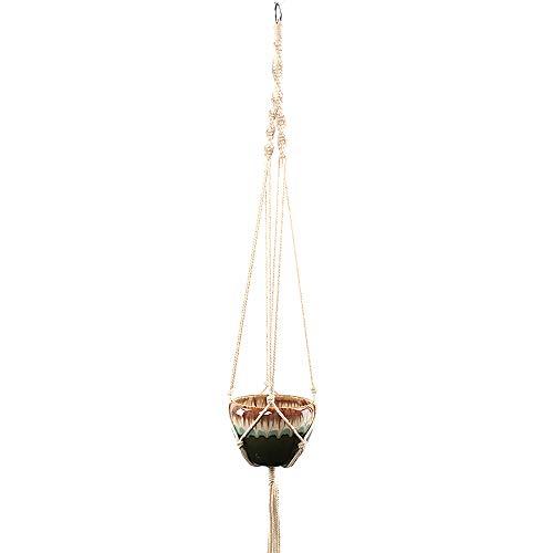 Plante de suspension, corde de coton naturel corde en macramé pot de fleur porte-panier suspendu avec décoration de maison porte-clés pour balcon extérieur intérieur - 4 pattes, long 100 cm,1pcs