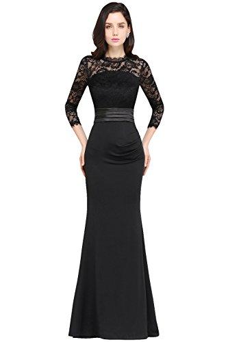 MisShow- Damen 2017 Spitze Abendkleid Ballkleid Promkleid Home Coming Dress lang A-linie Rock Schwarz Gr.42