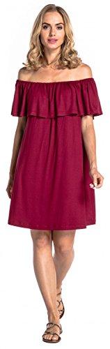Glamour Empire. Donna Vestito a Strati Volant Disegno Abito Scollo Bardot. 624 Cremisi