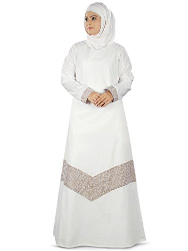 MyBatua Samaira Prayer Abaya white Cotton