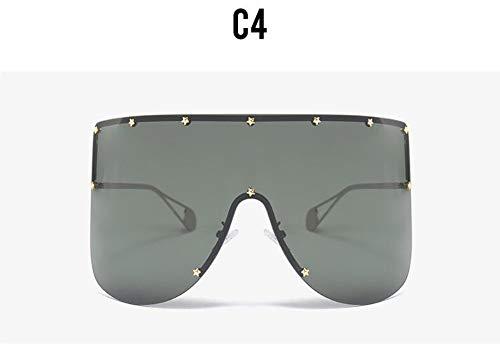 MINGMOU Riesige Black Shield Sonnenbrille TrendDamen Star Dekoration Große RahmenSonnenbrille Markendesigner MaskenstilSommerbrille, 4