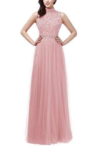 La_mia Braut Glamour Spitze High nech Abendkleider ballkleider Partykleider Bodenlang A-linie Festlich Hell Rosa