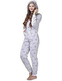 maluuna - Damen Fleece-Onesie mit Bündchen an Arm- und Beinabschluss, extrem kuscheliger Damen Jumpsuit, Overall mit Fell, Einteiler, Homewear