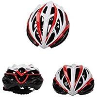 Flowerrs Casco Scooter Casco de Moto de ventilación poroso de una Pieza para Mujer (Negro + Rojo + Blanco) Skate Helmet
