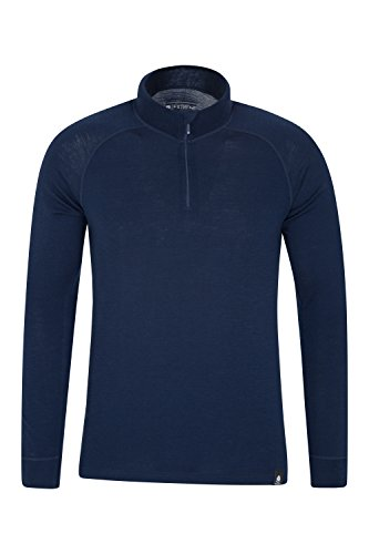 Mountain Warehouse Camiseta térmica Interior en Lana Merina con Manga Larga para Hombre - Camiseta Transpirable, Media Cremallera, Camiseta cómoda - para Acampar Azul Marino Large