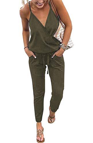 Udgwaz Damen Jumpsuit Sommer Ärmellos V-Ausschnitt Elegant Overall Lang Hosen (Grün, Large)