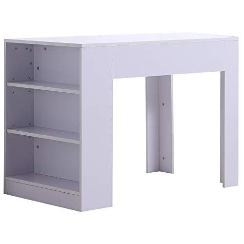 homcom Escritorio de ordenador PC con 3estantes para oficina, Cámara de madera 100x 60x 75cm, blanco
