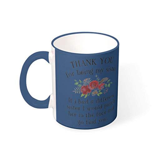 O3XEQ-8 11 OZ Danke, DASS du Meine Schwester bist Kaffeetasse Keramik Unique Becher - Lustige Geschenke für Schwester Urlaub Weihnachten Geschenke (Beidseitig Bedrucken) Midnight Blue 330ml