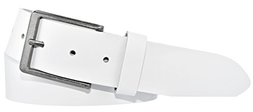Mytem-Gear Leder Gürtel 4 cm Jeansgürtel Ledergürtel kürzbar (90 cm, Weiss (Ledergürtelschlaufe))