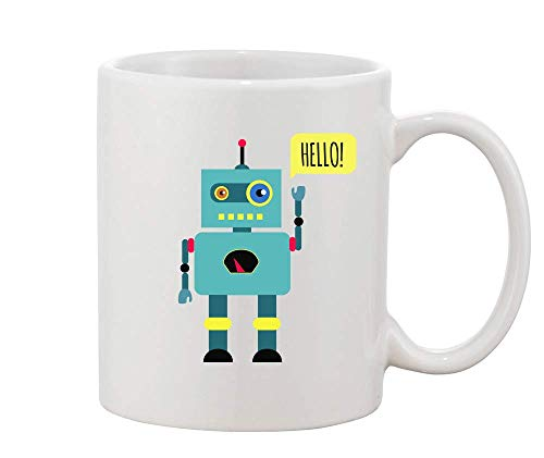 Finest Prints Toy Robot Saying Hello and Waving White Ceramic Coffee and Tea Mug (Remote Control Droid)
