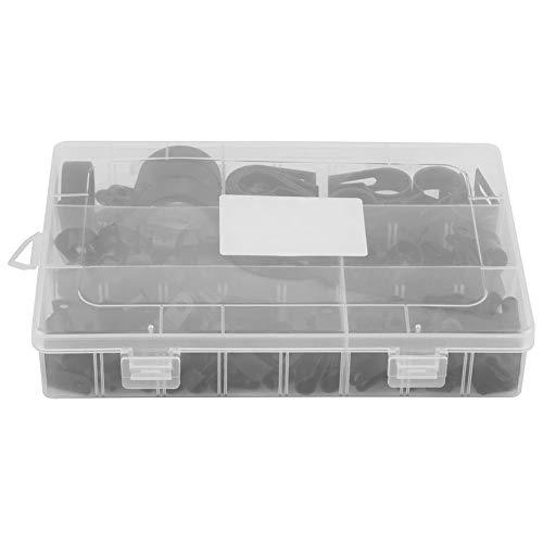 Preisvergleich Produktbild P-Klammern,  200 Stück Nylon-Kunststoff P-Klammern Klammern Sortierte Schachtel für Kabelkanal-Kit (Schwarz)