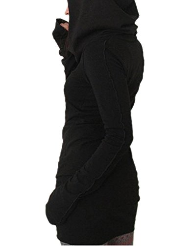 Minetom Donne Manica Lunga Felpa Con Cappuccio Bodycon Maglione Camicia Vestito Corto Lungo Camicie Maglione Nero